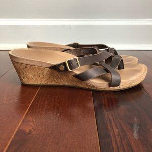 UGG Leather Sandal Wedges Size 9
